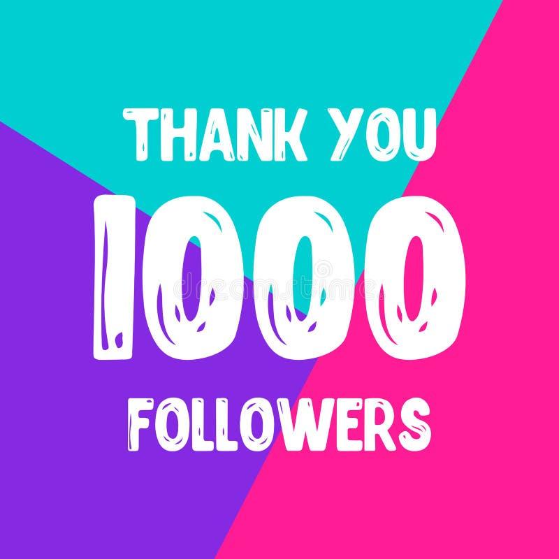 Dziękuje ciebie 1000 zwolenników sieci ogólnospołeczna poczta royalty ilustracja
