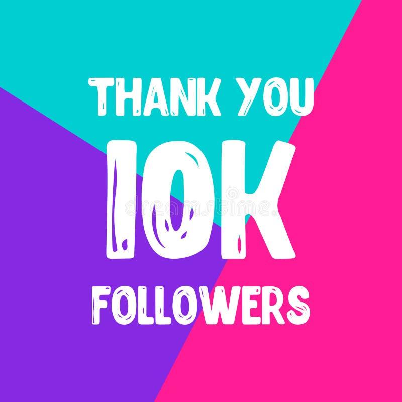 Dziękuje ciebie 10 000 zwolenników sieci ogólnospołeczna poczta ilustracja wektor