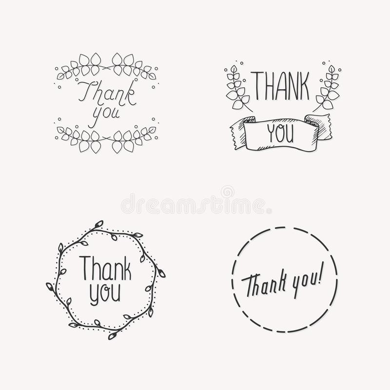 Dziękuje tou pojęcie z liśćmi dla online sklepu ilustracja wektor
