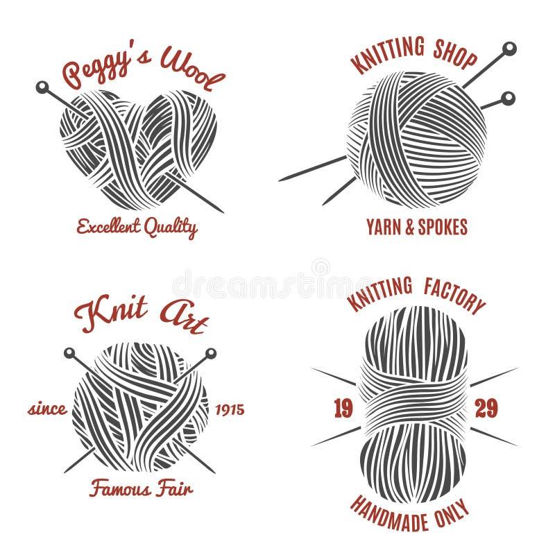 Dziać etykietki i knitwear loga ilustracji