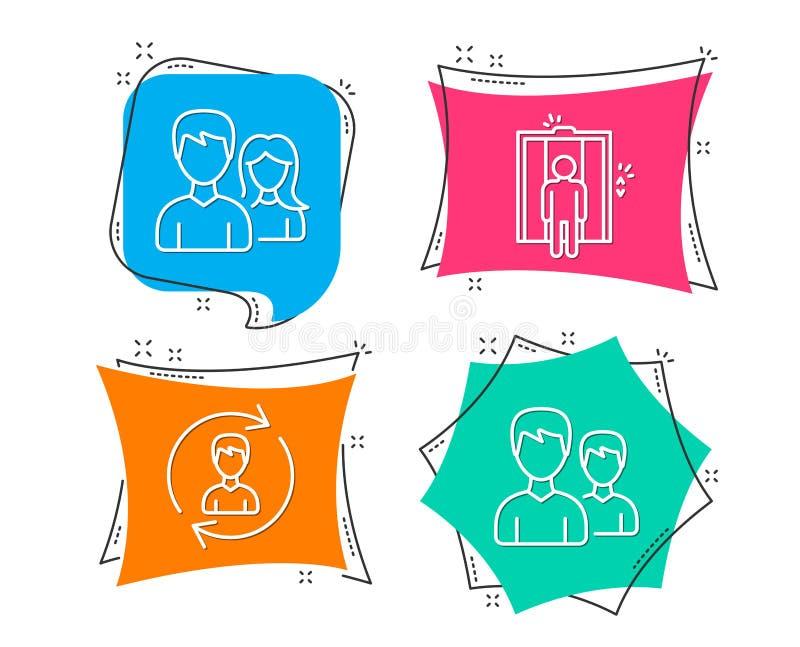 Działów zasobów ludzkich, windy i pracy zespołowej ikony, Para znak Aktualizuje profil, Podnosi, Obsługuje z kobietą, ilustracji