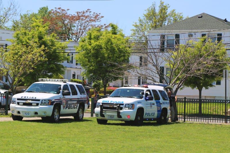Dział departament bezpieczeństwa krajowego policja i wolnego portu departament policji providing ochronę podczas flota tygodnia 2 zdjęcie royalty free
