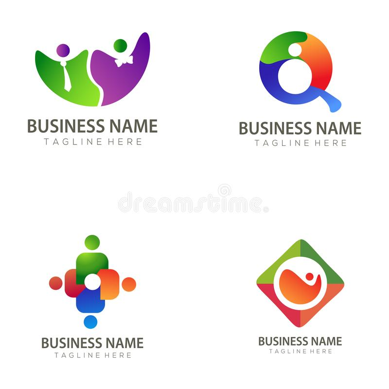 Dział Zasobów Ludzkich logo i ikona projekt ilustracja wektor