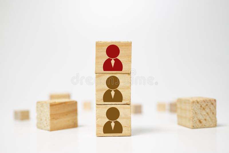 Dział zasobów ludzkich zarządzanie i rekrutacji biznesowa budowa zespalamy się pojęcie Drewniany sześcianu blok na wierzchołku z  obraz royalty free
