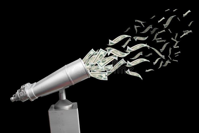 Działać lornetki przyciąga latającego dolara zdjęcie royalty free