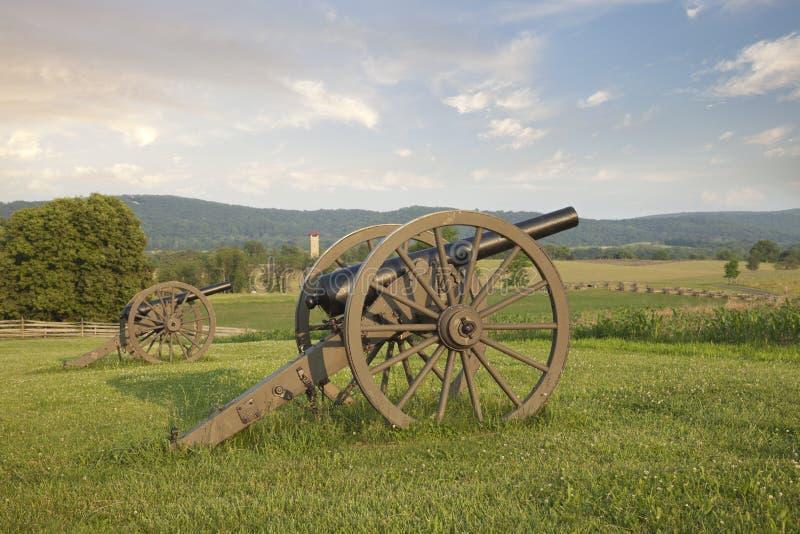 Działa przy Antietam polem bitwy w Maryland (Sharpsburg) zdjęcie stock