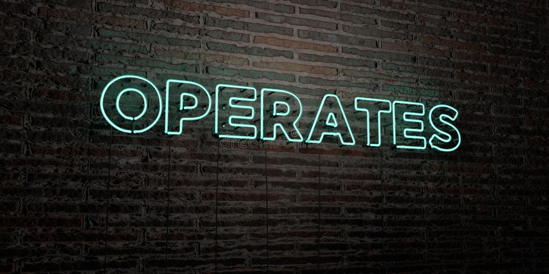 DZIAŁA - Realistyczny Neonowy znak na ściana z cegieł tle - 3D odpłacającego się królewskość bezpłatnego akcyjnego wizerunek ilustracji