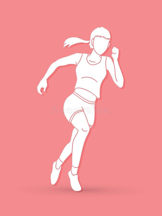 Działająca akcja, Maratoński biegacz, początku działający graficzny wektor royalty ilustracja