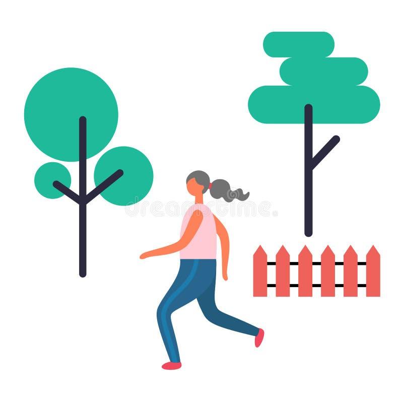 Działająca kobieta, Jogger w parku, Odosobneni drzewa ilustracja wektor