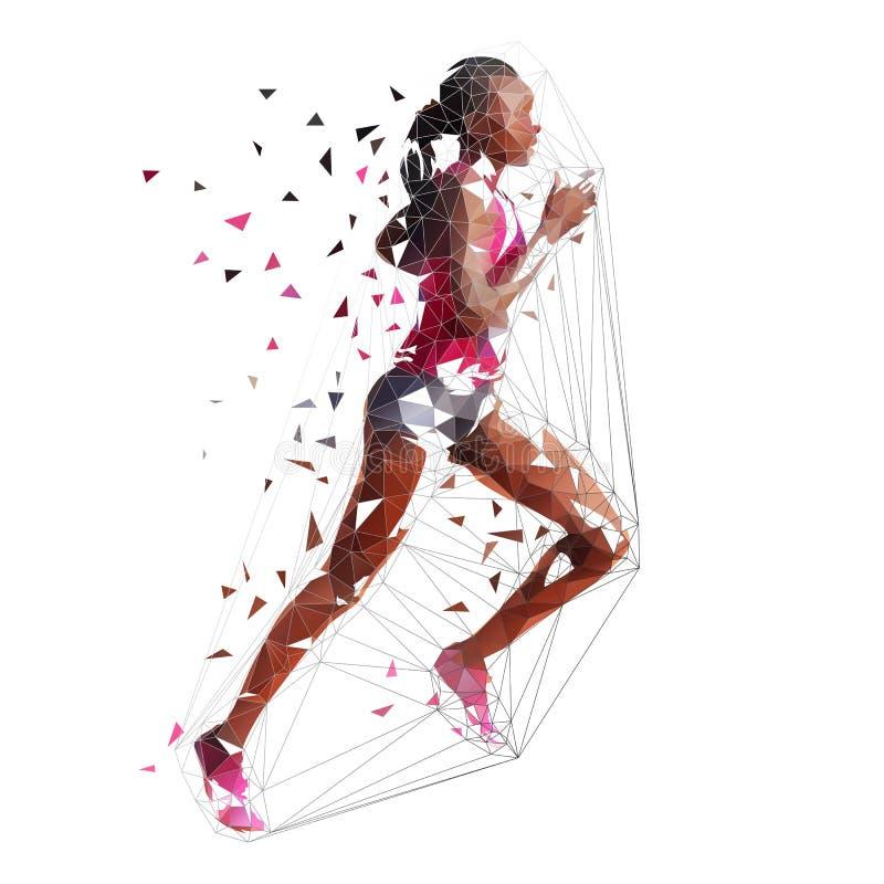 Działająca kobieta, niska poligonalna odosobniona wektorowa ilustracja Amerykanin afrykańskiego pochodzenia maratonu biegacz, boc royalty ilustracja
