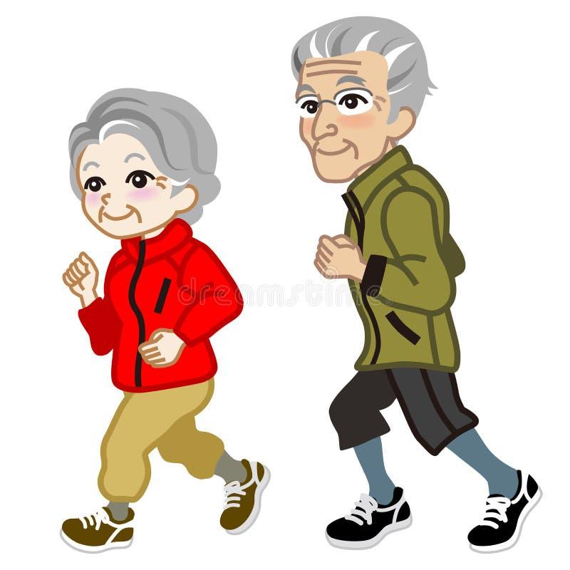 Działająca Starsza para Odizolowywająca ilustracji