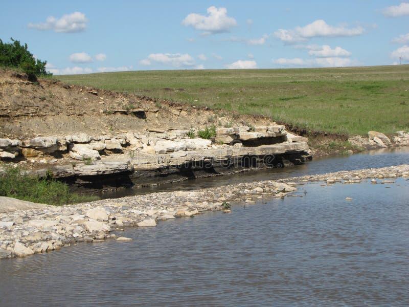 Działające zatoczki w Flinthills Kansas obrazy royalty free