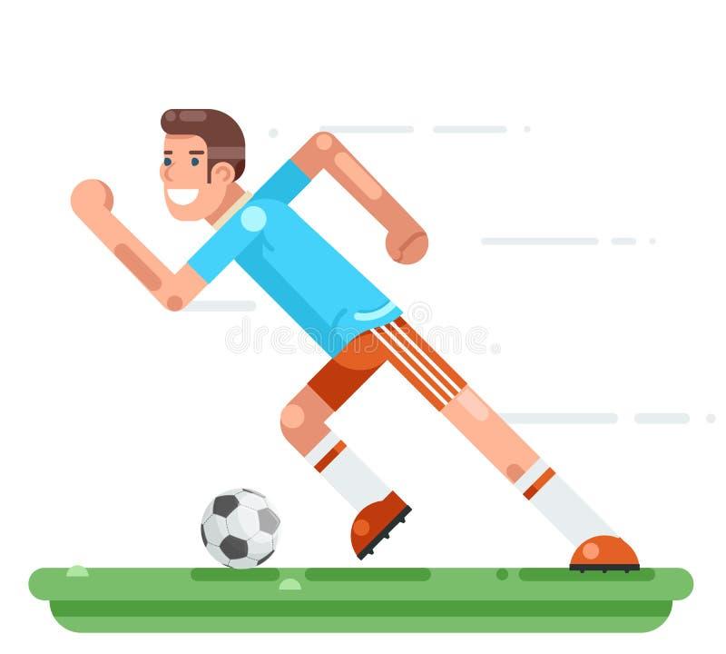 Działającego gracz piłki nożnej charakteru stadium futbolowego tła projekta wektoru płaska ilustracja ilustracji