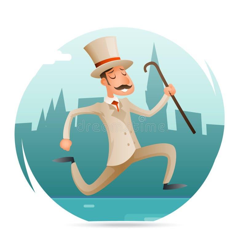 Działającej dżentelmenu wiktoriański pośpiechu Zamożnego mężczyzna charakteru Szczęśliwej ikony kreskówki projekta wektoru Retro  royalty ilustracja