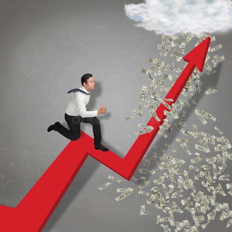 Działającej synkliny Biznesowa Wzrostowa strzała deszcz pieniądze obraz royalty free