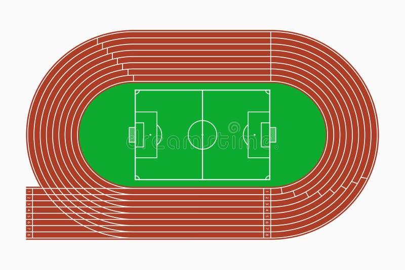 Działający ślad, piłka nożna i boisko piłkarskie, odgórny widok sporta stadium wektor ilustracja wektor