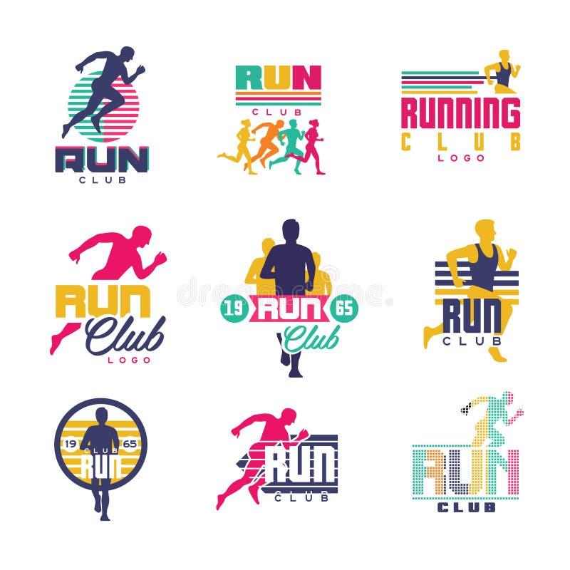 Działający świetlicowi logów szablony ustawiają, emblematy dla sporta organizacj, turniejów i maratonów kolorowego wektoru, ilustracji
