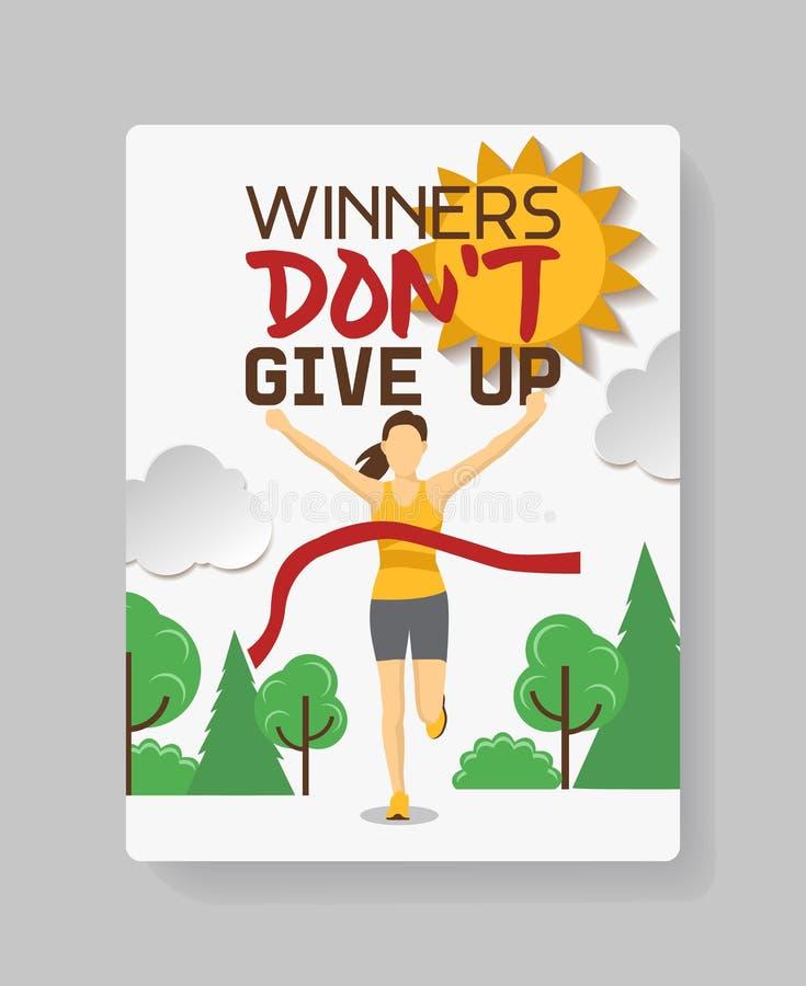 Działający atlety dziewczyny krzyż meta wektoru ilustracja Młoda kobieta zwycięzca biega maraton rasy z słowo zwycięzcami royalty ilustracja