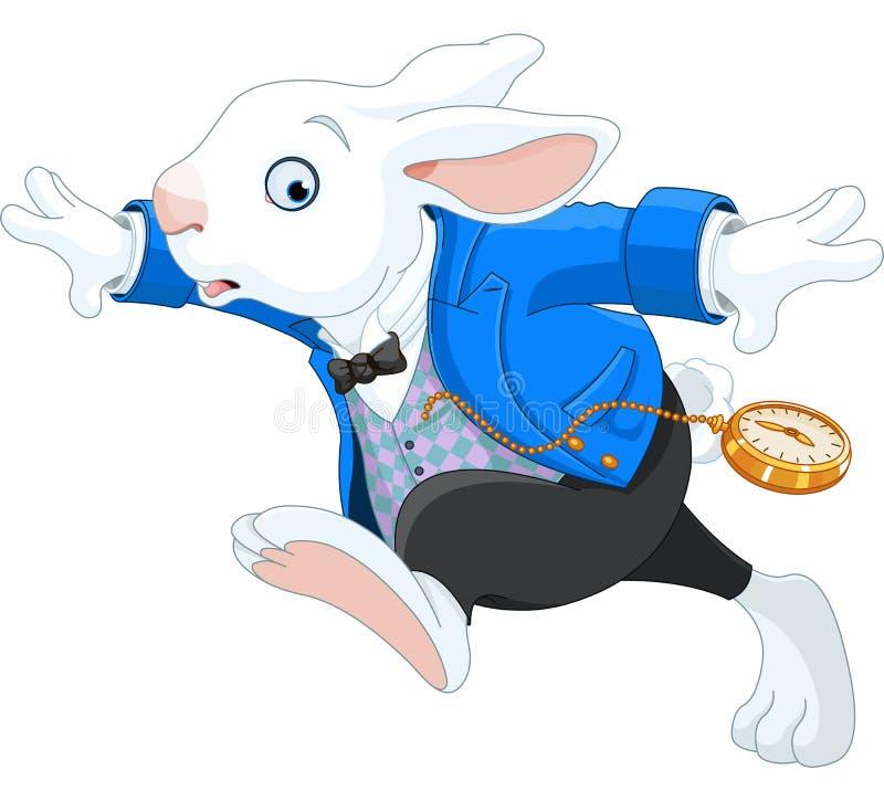 Działający Biały królik royalty ilustracja