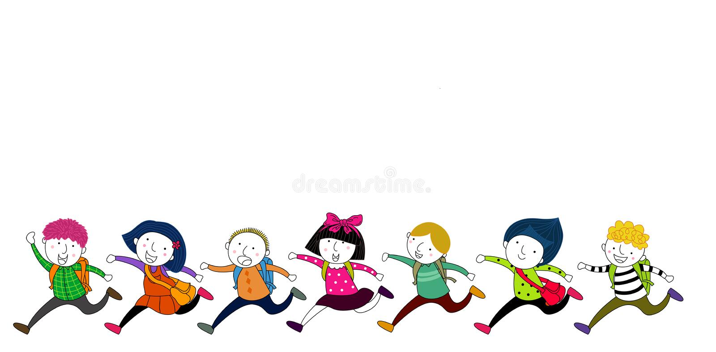 Działający dzieci z szkolnymi torbami ilustracja wektor