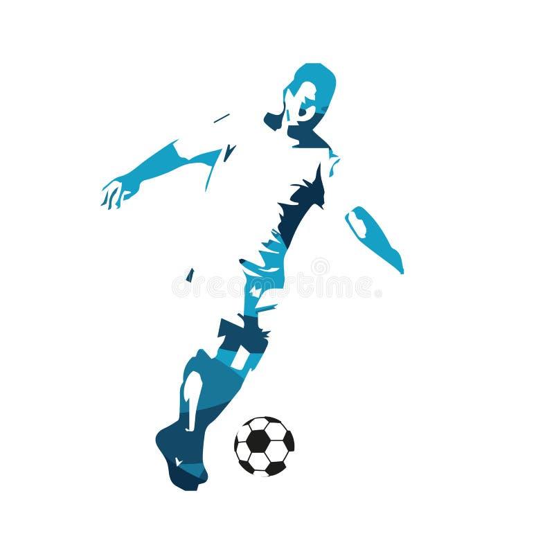 Działający gracz piłki nożnej, abstrakcjonistyczna błękitna sylwetka ilustracja wektor