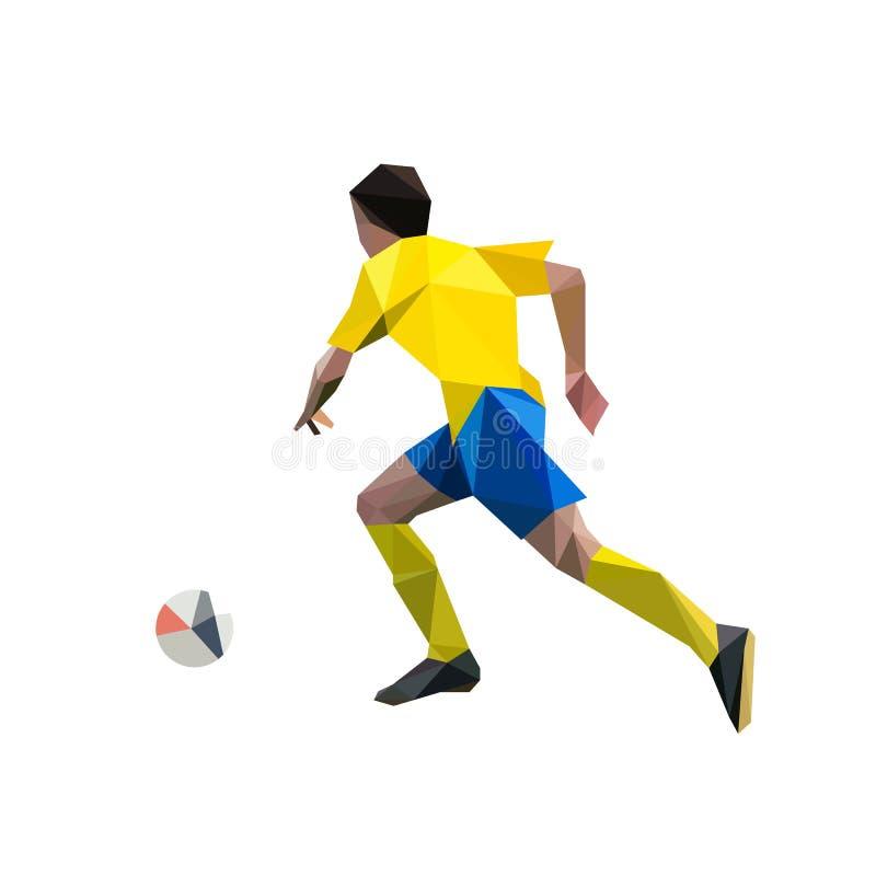 Działający gracz piłki nożnej, poligonalna ilustracja ilustracja wektor
