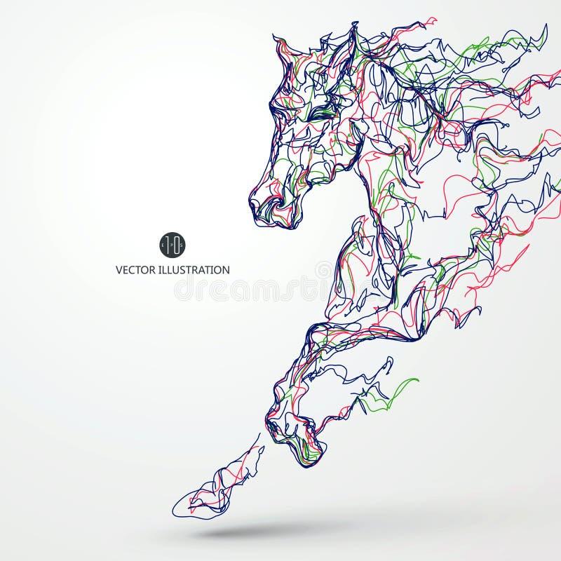 Działający koń, barwiony linia rysunek, wektorowa ilustracja ilustracji