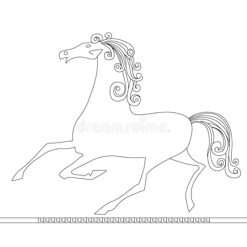 Działający koński ikony sylwetki abstrakt odizolowywający na białym backg ilustracja wektor