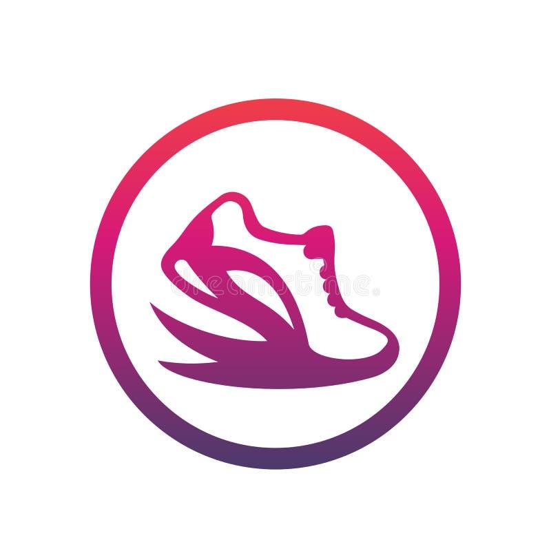 Działający loga element, ikona w okręgu nad bielem ilustracja wektor