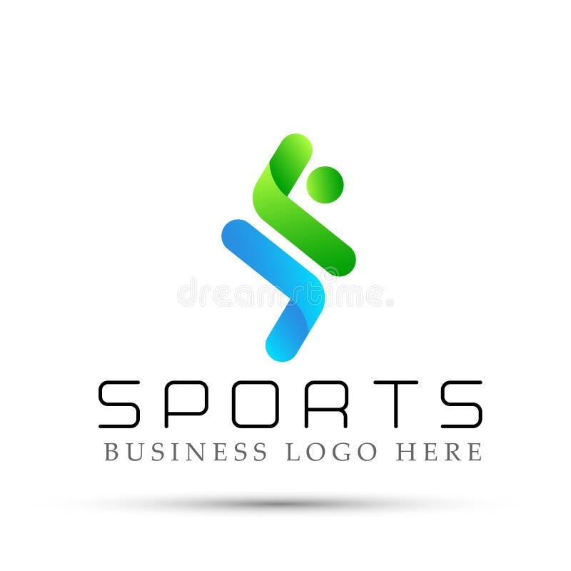 Działający mężczyzna bawi się logo ikonę na białym tle ilustracja wektor