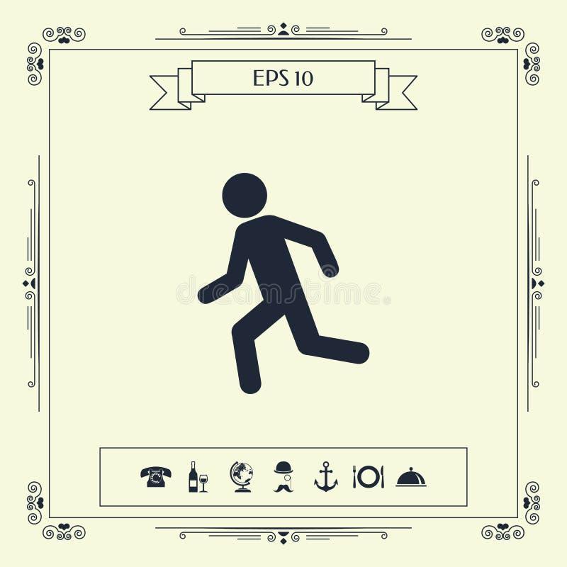 Działający mężczyzna, bieg ikona ilustracja wektor
