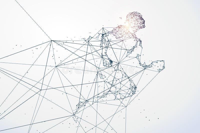 Działający mężczyzna, sieć związek obracający w ilustracji