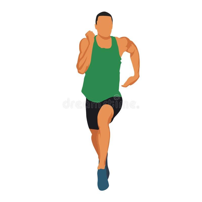Działający mężczyzna w zielonym bydle, mięśniowa atleta ilustracja wektor