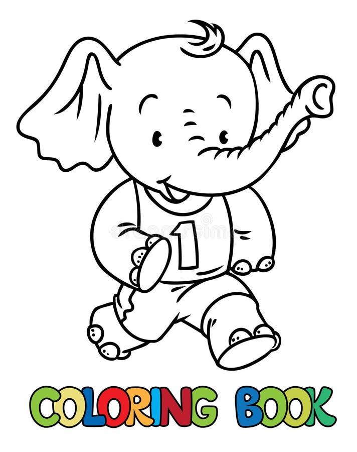 Działający mały dziecko słoń książkowa kolorowa kolorystyki grafiki ilustracja sport royalty ilustracja