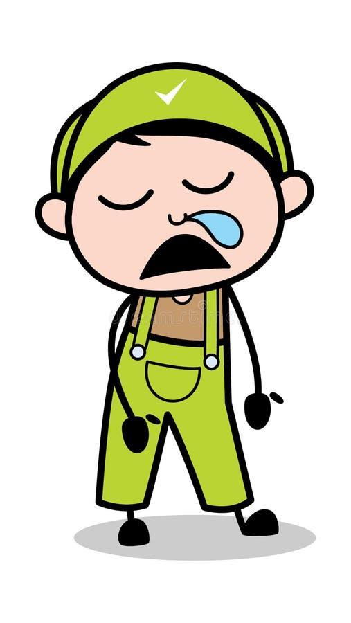 Działający nos Podczas gdy Śpiący - Retro Repairman kreskówki pracownika wektoru ilustracja ilustracji