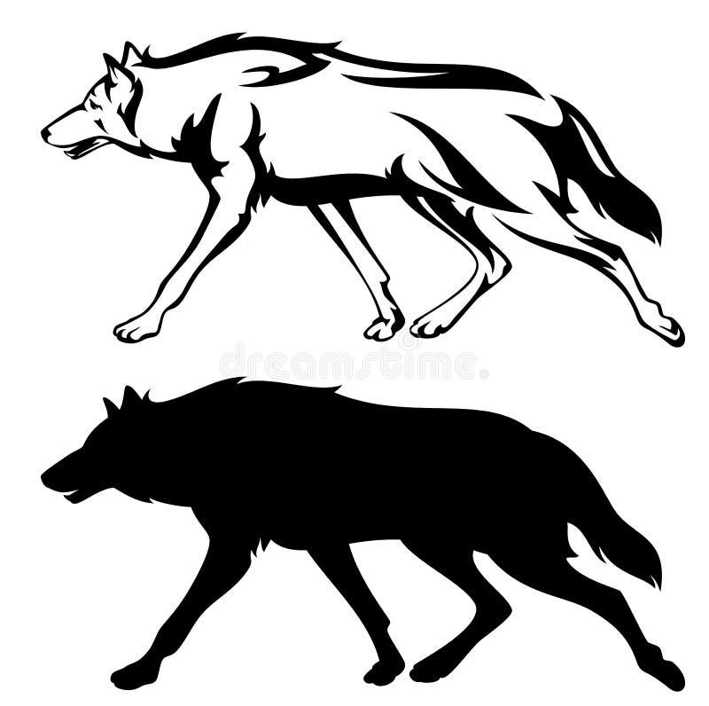 działający wilk ilustracji