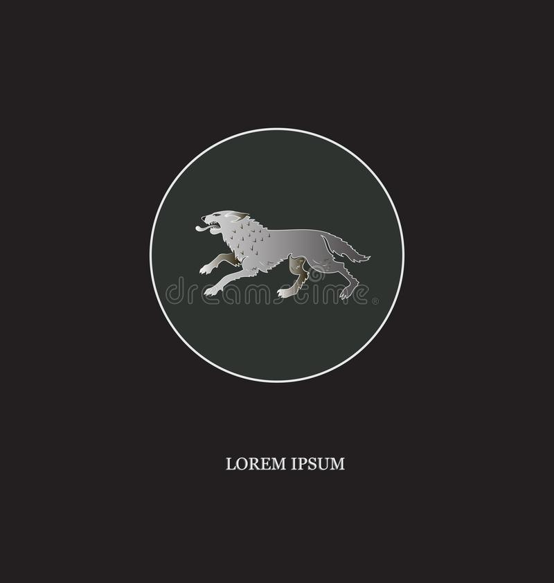 działający wilk Bielu konturu okrąg ilustracja wektor