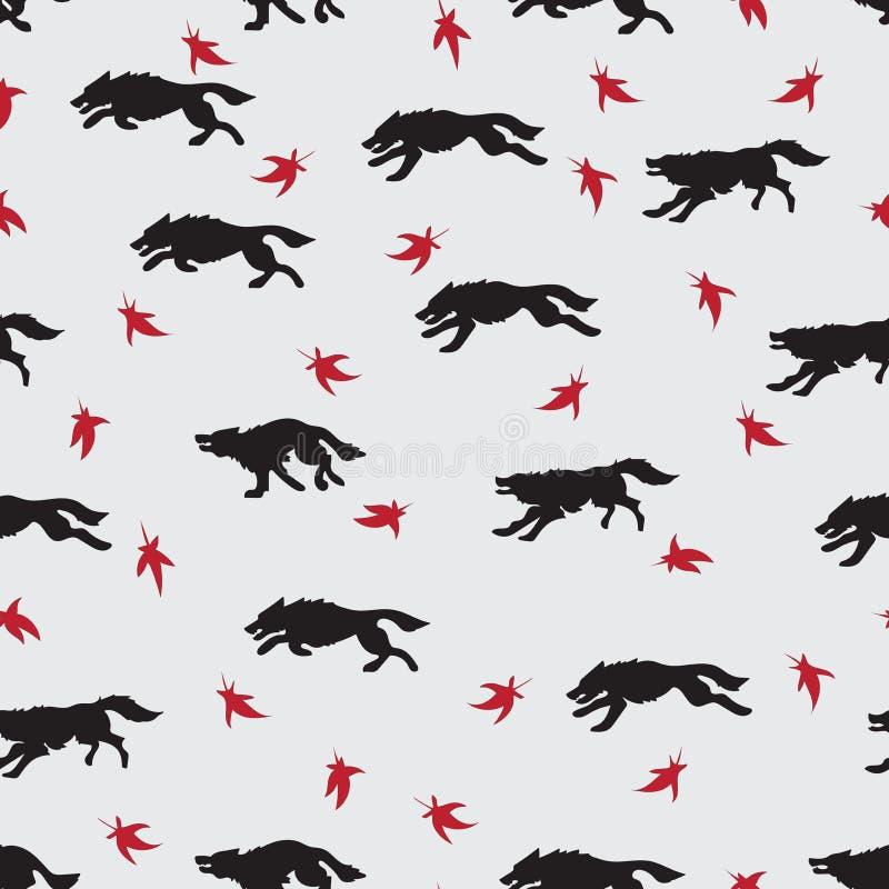 Działający wilki opuszczać czerwień ilustracja wektor