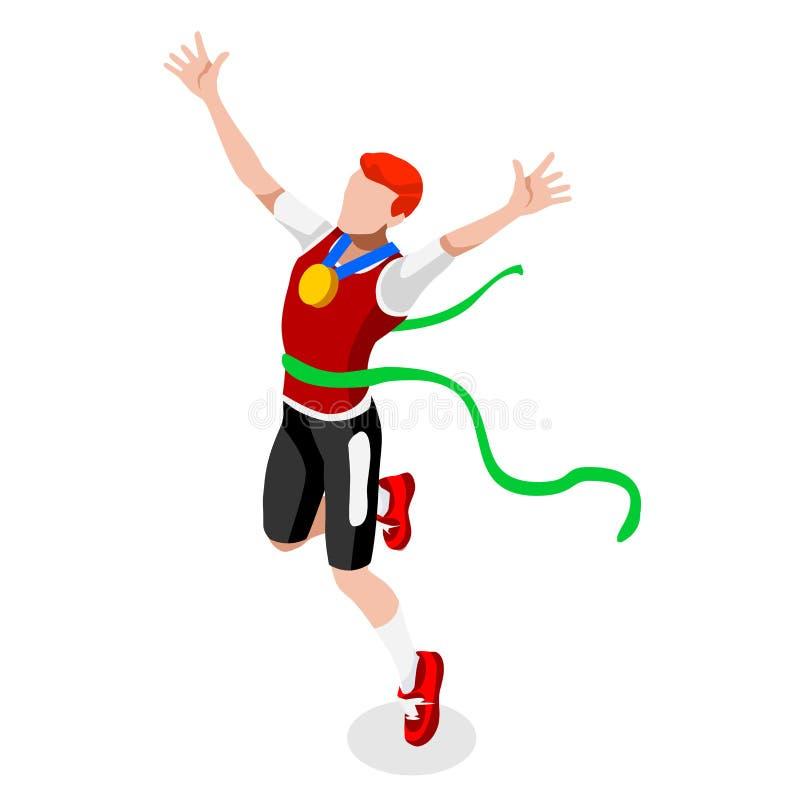 Działający wygranie mężczyzna atletyka lata gier ikony set Wygrany pojęcie Olimpiad 3D wygrany biegacza Isometric atleta Sport at ilustracja wektor