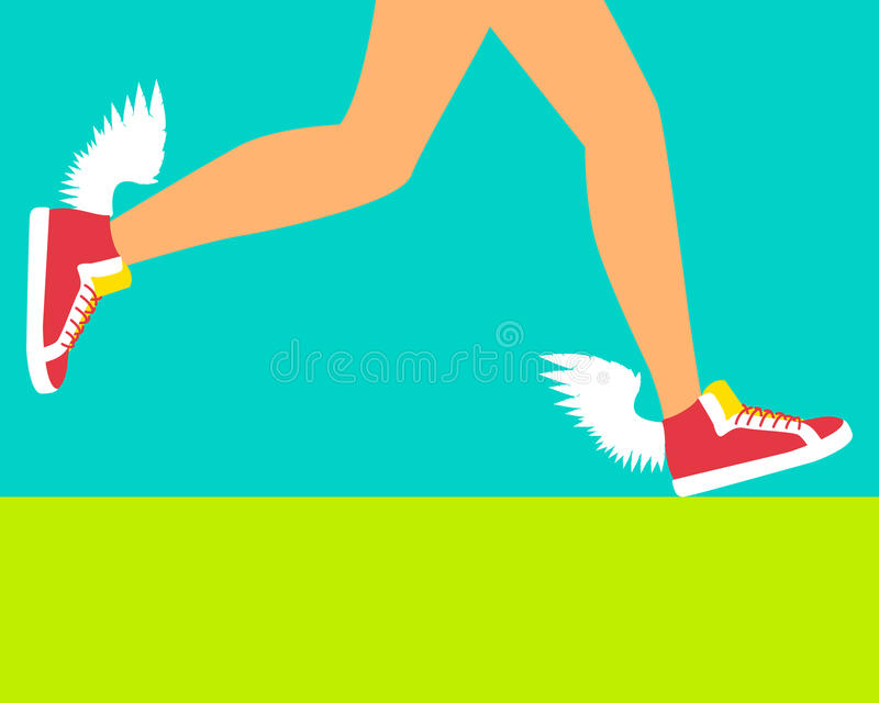 Działający but z skrzydłami ilustracja wektor