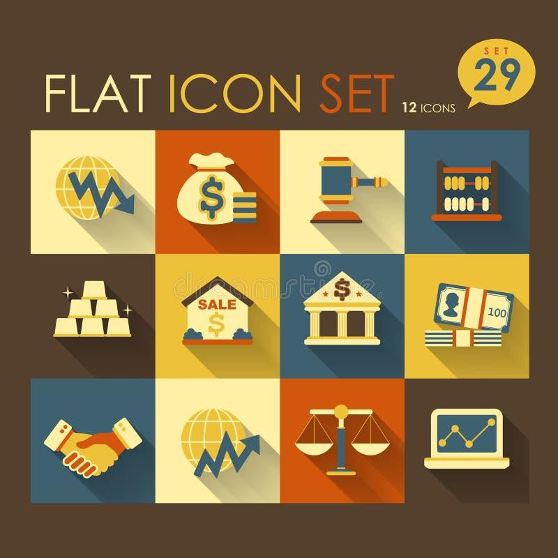 Działalność gospodarcza & pieniężny ikona set ilustracji