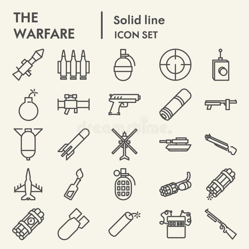 Działania wojenne ikony kreskowy set, broń symbole kolekcja, wektor kreśli, logo ilustracje, zbroi znaków liniowych piktogramy ilustracja wektor
