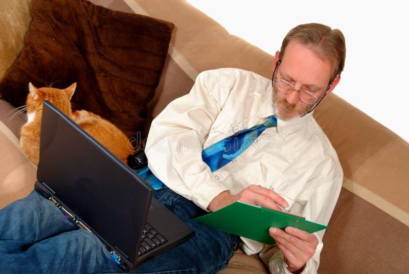 działanie laptopa biznesmena obraz stock
