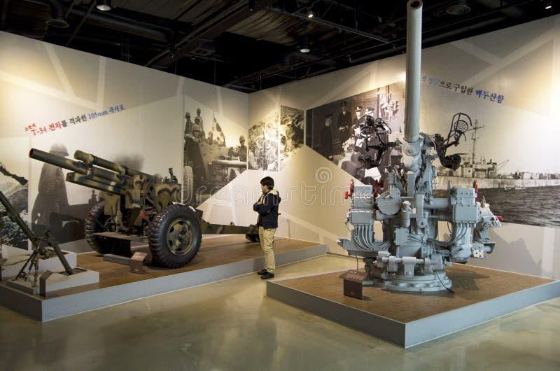 Działo broń w Wojennym pomniku Korea obraz royalty free