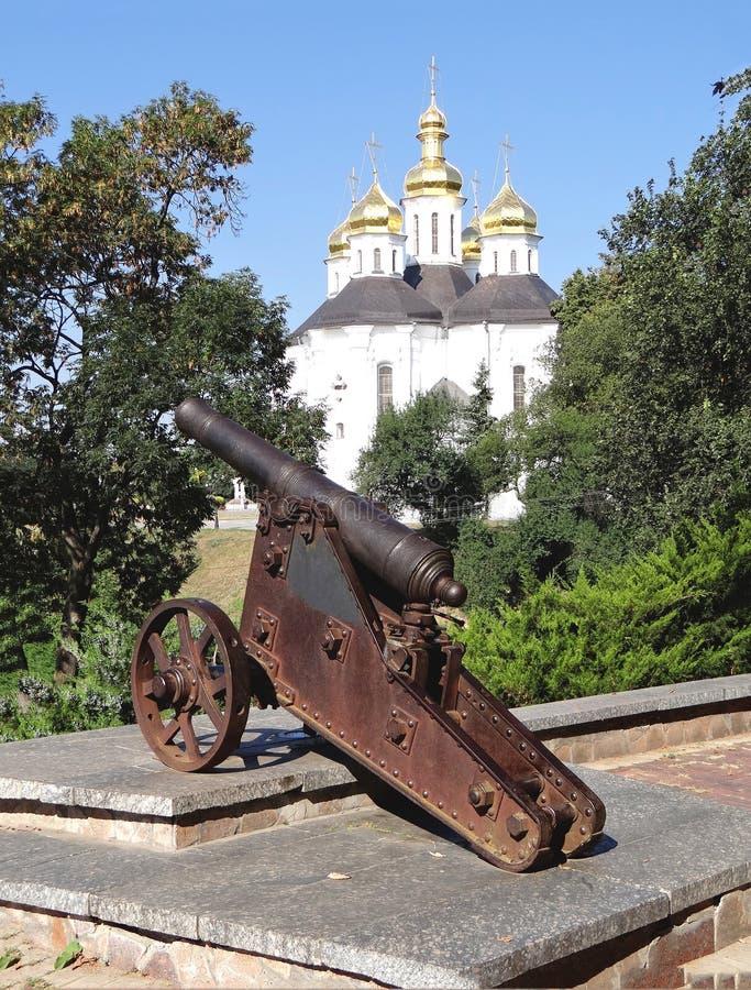 Działo na antycznym Vala Chernihiv Ukraina fotografia royalty free