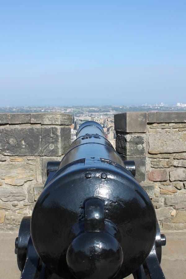 Działo na ramparts Edynburg kasztel, Szkocja fotografia royalty free