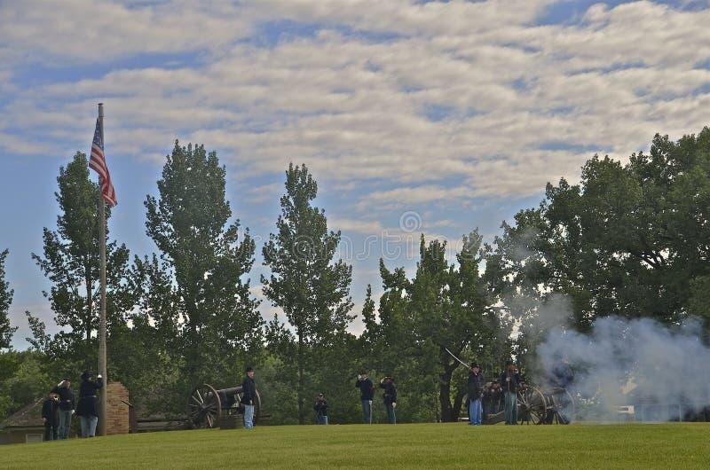 Działo ostrzał przy fortem Sisseton zdjęcie royalty free