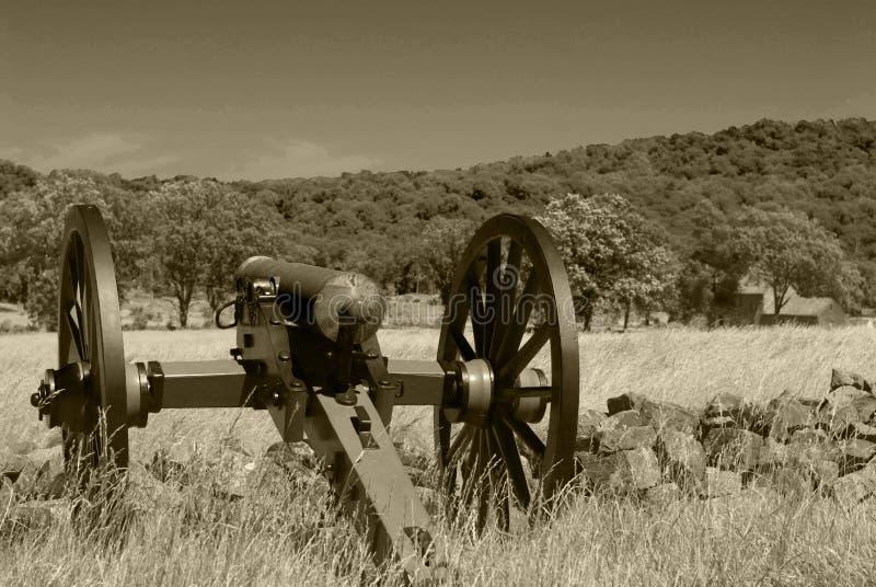 Działo przegapia Gettysburg pole bitwy zdjęcia stock