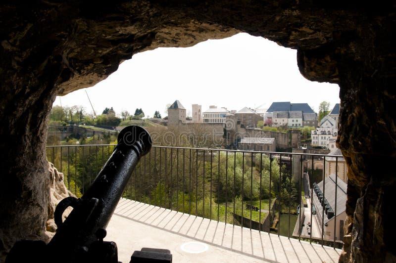 Działo przy Bock kazamatami - Luksemburg obraz stock