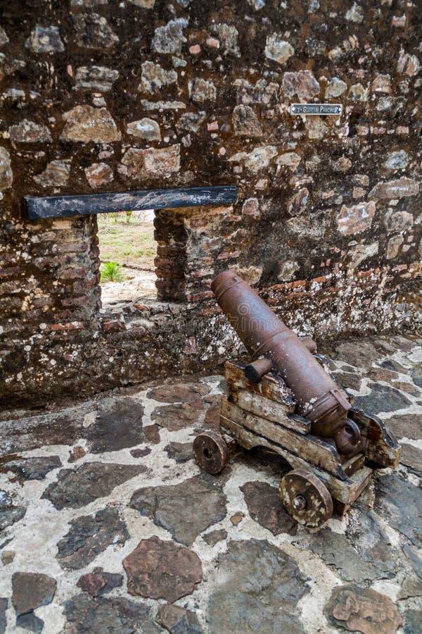 Działo przy fortecą Niepokalany poczęcie w wioski Ell Castillo przy San Juan rzeką, Nicarag zdjęcia stock